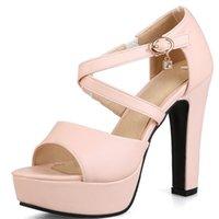 seksi pembe dikiz ön ayak topuklu toptan satış-2018 yeni stil kadın sandalet tatlı pembe peep toe yaz ayakkabı seksi yüksek topuk platform ayakkabılar büyük boy 34-43 ayakkabı kadın