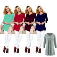 туника оптовых-Осень 3/4 рукава женщины рубашки Blusas туника асимметричный подол нерегулярные топы повседневная длинная блузка сплошной цвет рубашки OOA4165