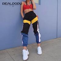 siyah uzun örgüler toptan satış-Realpopu Patchwork Uzun Harem Pantolon Kadın Sweatpants Yüksek Bel Yan Çizgili Siyah Pantolon Dokuma Elastik Bel Spor EgzersizY1882202