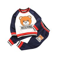 Wholesale baby clothes for boys for sale - Baby Girl Sport Clothing Set Cartoon Bear Boy Stracksuit Long Sleeve Children Skirt Sets for years Kids Spring Outfit