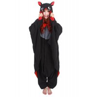 Wholesale bat women costume for sale - Bat Unisex Hoodie Pajamas Halloween Costumes For Women Adult Winter Pyjama Animal Overall Home Sleepwear Cosplay Anime