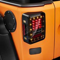 внедорожные автомобили оптовых-Бесплатная доставка пара внедорожных Wrangler JK LED задний фонарь указатель поворота задний тормоз янтарный красный свет в одном для авто 4x4 JK 07-15 автомобилей