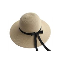Wholesale straw hat womens fashion - 2016 Hot Sale Womens Fashion Summer Straw hat Sun hat Folding Travel Beach Cap With Lovely Bow