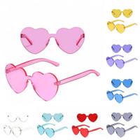Wholesale proof love - Creative Rimless Sun Glasses Scratch Proof Love Heart Shape Eyeglass Tint Clear Lens Ultraviolet Proof Sunglasses For Women 8xf B