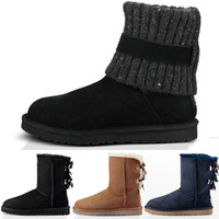 Wholesale sheepskin boots bows for sale - NEW WGG Australia Women s Classic knee Snow Boots Ankle bow boots Black Grey chestnut navy blue Discount Women girl boots Size