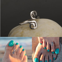 Wholesale Body Jewellry - Women infinity Toe Rings Celebrity Vintage Band Ring Silver Plated Adjustable Foot Jewelry Beach Retro Style Body Jewellry Tail Rings