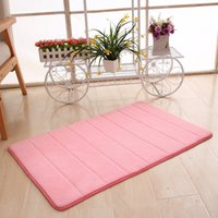 Wholesale doormat red carpet - Thickening 1.6cm Coralline Carpets Home Memory Cotton Rug Slow Rebound Shower Room Doormat Easy To Clean Up 10dm2 Ww