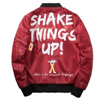 Wholesale Red Bombs - Bomber Jacket Men Graffiti Print Thin MA-1 Men's Jacket Hip Hop Fashion Outwear Autumn Men Coat Bomb Baseball Jackets