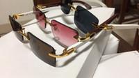 melhores óculos de sol das mulheres venda por atacado-Sem aro luxo óculos de sol chifre de búfalo óculos com moldura de madeira pernas dos homens das mulheres óculos de sol para a marca designer de melhor qualidade com caixa