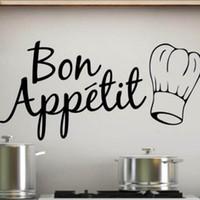 wandküche großhandel-Bon Appetit Essen Wandaufkleber Küche Zimmer Dekoration Diy Vinyl Home Decals Kunst poster papier Küche Wandkunst Wand freies verschiffen