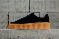 Wholesale Basket Plastic - 2018 PUM Basket Platform Wheat Casual shoes Fenty Cleated Creeper Professional Running shoes Outdoor Trainer PM Suede Creepers