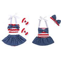 ingrosso set di bandiera per bambini-Completi bandiera americana per neonate INS per bambini Set di strisce a strisce per stelle 2018 Summer Boutique Abbigliamento per bambini Set C4304