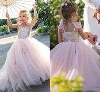 Wholesale black kids dress designs for sale - Group buy New Design Girls Pageant Gowns Lace Applique Sleeveless Flower Girl Dresses For Wedding Pink Tulle Puffy Kids Communion Dress