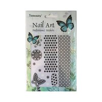 Wholesale 3d butterfly nail art - tickers and decals 1pcs Nail Art Decoration Stickers And Decals 3d White Black Butterfly Flowers Summer Designs Stencil Tips Manicure SAB...