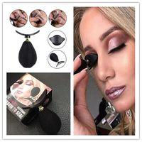 ambalaj damgası toptan satış-1 ADET Tembel HUADI GÜZELLIK Damga Kırışık Glitter Göz Farı Mühür Göz Makyaj Aracı siyah mini Hızlı moda basit kozmetik makyaj Perakende paket