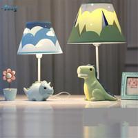 дети из учебного стола оптовых-Творческий мультфильм смолы динозавры настольные лампы для гостиной детская спальня прекрасный исследование прикроватная лампа дети подарок на День Рождения