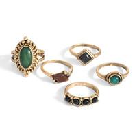 женские кольца натуральные камни оптовых-Мода Дамы Палец Позолоченные Кольца Дизайн Ювелирных Изделий Один Натуральный Камень Кольцо Набор