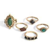 anillo de piedra natural chapado en oro. al por mayor-Anillo de oro plateado oro del diseño del anillo de las señoras de la manera Sistema de anillo de piedra natural solo del conjunto