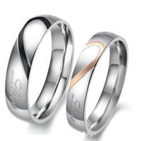 gravierte paare ring set großhandel-Seine ihrs Paare graviert Titan Ring romantische Liebe hören Ringe Paare Versprechen Engagement Ehering Set / Ring