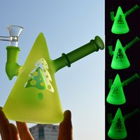 """Wholesale unique hookah pipes - Glow in the Dark Beaker Bong Green Frosted Dab Oil Rig Water Pipe 5.4"""" Luminous Bubbler Unique Cone Glass Hookah 14mm Joint"""