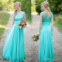 Wholesale Lace Line Wedding Dress Sheer Top - 2018 Turquoise Bridesmaids Dresses Sheer Jewel Neck Lace Top Chiffon Long Country Bridesmaid Maid of Honor Wedding Guest Dresses CPS574
