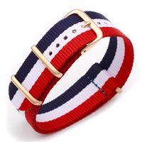 ingrosso cinturino bianco-cinturino in nylon di ricambio per cinturino sportivo nato rosso blu bianco classico da 20mm