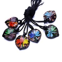 Wholesale 3d murano glass pendant - whole sale2018 Wholesale murano glass jewelry Fashion 6 Colors 3D Flower Lampwork murano glass beaded pendant necklace for women jewelry