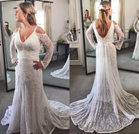 Wholesale dress boda - Vestidos De Boda Para Novia Whole Lace Wedding Dress With Long Sleeve Mermaid V-neck Vintage Bohemian Bridal Gowns Elegant Women Marrigae