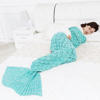 manta de bebé de cachemira al por mayor-Arrivel punto Mermaid Tail Blanket Adulto / Niño / Bebé Mermaid Manta Knit Cashmere-Like TV Sofa