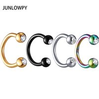 Wholesale anodized steel jewelry for sale - Group buy Anodized Nose Rings Surgical Steel Body Jewelry Crystal Sexy Piercing Hoop horseshoe Daith Tragus Earring Women Men