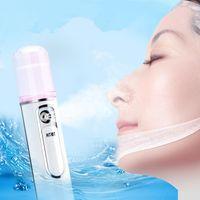 Wholesale cool power banks online - Mini Portable Facial Steamer Power Bank Rechargeable USB Nano Mist Sprayer Moisturizing Skin Care Beauty Instruments Device