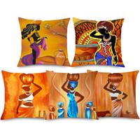 ingrosso decorazione da ballo della camera da letto-African Woman Oil Painting Covers Covers 9 Styles Dancing Woman Lino spesso in cotone copricuscino 45x45cm Bedroom Sofa Decoration