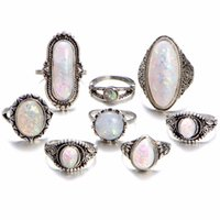 Wholesale infinite gifts - Bohemia Vintage Water Drop Opals Midi ethnic crystal ring set 8 pieces Infinite Knuckle Rings Boho Jewelry Accessories Gift for Women