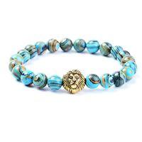 Wholesale Malachite Men - 1pc blue high quality malachite lion head beaded bracelet natural stone jewelry for men and women AL-ZM23