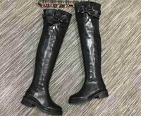 Wholesale High Sole Motorcycle Boots - AAAAA Women Over Knee Boots Lacing Studded Zipper Buckle Lug Sole Size 35-40 with Box dust bag receipt
