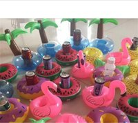 Wholesale foldable bars - Flamingos Donut Watermelon Lemon Pineapple Inflatable Coasters Pool Donut Floating Bar Coasters Floating Drink Cup Can Holder Bath Toys B11