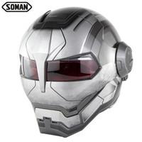 Wholesale ironman helmet for sale - Group buy Newest War Gray Helmets Racing Motorcycle Ironman Helmet Motocross Flip Up Robote Style Casco Full Face capacetes Soman SM515
