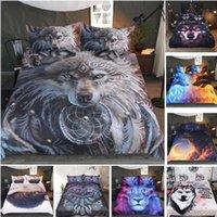fundas de almohada de impresión de tigre al por mayor-3D Animales Juegos de tres piezas Kits Tiger Lion Lobo Fundas de almohada Fundas de almohada Suave Funda de cojín Impresión Cama Saco Cómodo 16colors