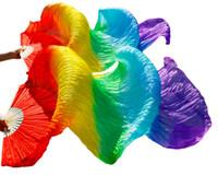 ingrosso ventre di seta-2018 donne calde di vendita 100% reale ventre di danza del ventre di seta velati di ventre di danza del ventre colore dell'arcobaleno (2pcs)