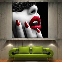 kanvas yağlıboya siyah kırmızı toptan satış-Yüksek Kalite Kırmızı Dudaklar Modern Ev Güzel Duvar Sanatı Tuval Yağlıboya Siyah Beyaz Yüz Dekor, Çok Boyutları Ab230