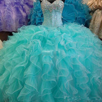 ingrosso vestiti di turchese-2017 Blu Turchese Quinceanera Abito Ball Gown Sweetheart con perline Backless Cheap Girls 15 anni Quinceanera Abiti Sweet 16 Dresse