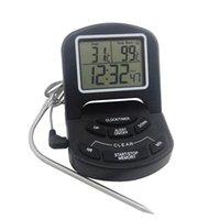 temporizador de cocción múltiple al por mayor-Termómetro digital Reloj digital LCD Termómetro triple Sonda Termómetro BBQ Cocina Cocina Herramienta de cocina Termómetros de cocina