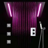 ingrosso hotel leggeri-Sistema doccia hotel con luci a led Rubinetti per doccia a pioggia di grandi dimensioni Kit doccia termostatico Massaggio da 4 pollici Getti corpo