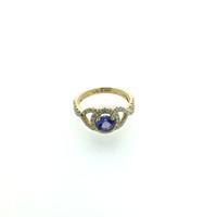 anillos de tanzanita oro 18k al por mayor-ANI 18 K oro amarillo (AU750) Anillo de bodas para mujer certificado I / SI 0.868 ct Anillo de diamante de tanzanita con corte redondo para enagement joyería S923