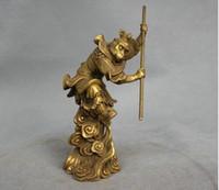 обезьяна оптовых-6 дюймов Китай миф латунь ВС Укун обезьяна Король держать палку бой статуя