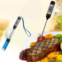 Wholesale bbq digital meat probe resale online - Electronic Food Thermometer Black Digital Food Probe BBQ Food Grade Sensor Meat Thermometer Cooking Kitchen Tools AAA431