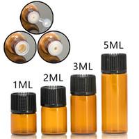 tapón de la botella de aceite esencial al por mayor-Amber Glass Essential Oil e Liquid Bottles 1 2 3 5 ml Frasco de tubo de ensayo de vidrio con tapón de plástico Cubierta negra