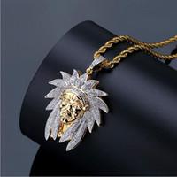 ingrosso collane di diamanti in stile indiano-Mens Retro Style Indian Pendant Pendant Necklace Men Micro Pave Cubic Zirconia Diamanti simulati con catena da 24 pollici
