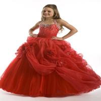 ingrosso mano di fiore rosso della ragazza-Halter Beading Ball Gown Personalizzato Carino rosso o bianco Tulle Flower Girl Dress Piano Lunghezza fatti a mano Fiori Archi Bambini Prom Abiti da sposa