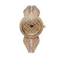 Wholesale gold watches china - 37mm Top Brand Luxury Rhinestone Watch Women Gold Bracelets Bu Relogio Feminino Dourado Mesh Imported-China Reloj Mujer